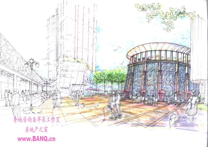中庭小广场手绘图