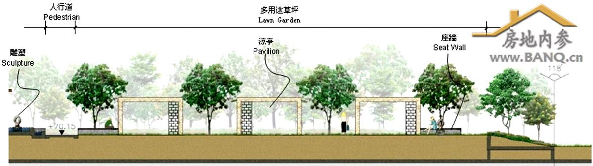 绿景·香颂平台庭院剖面图