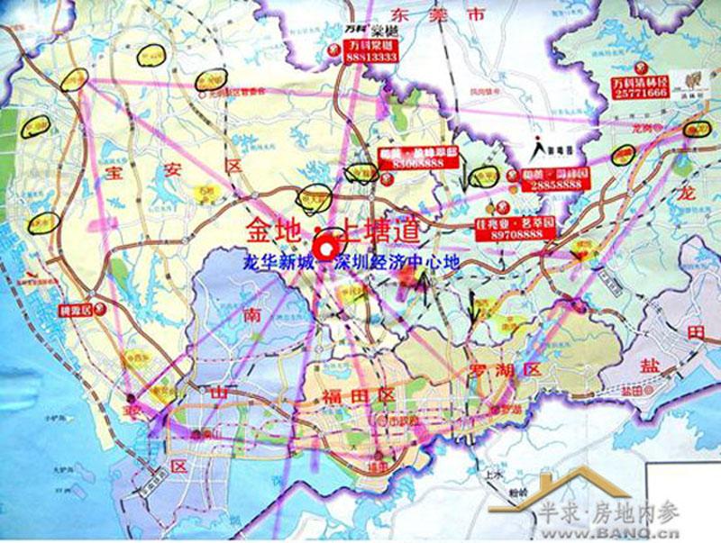 深圳 经济中心地 示意图 中心地理论 3倍律的购房gps  高清图片