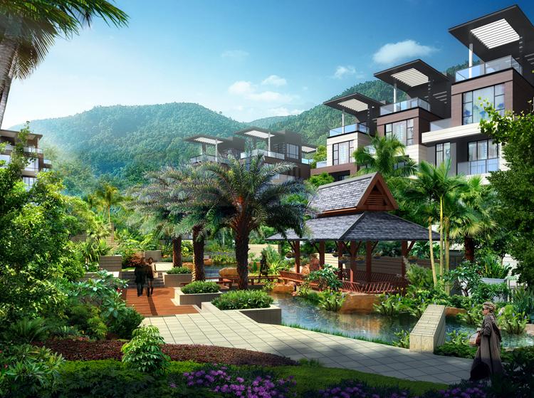 卧室阳台,屋顶花园等院落空间的设立都根据每套别墅的环境进行设计,大