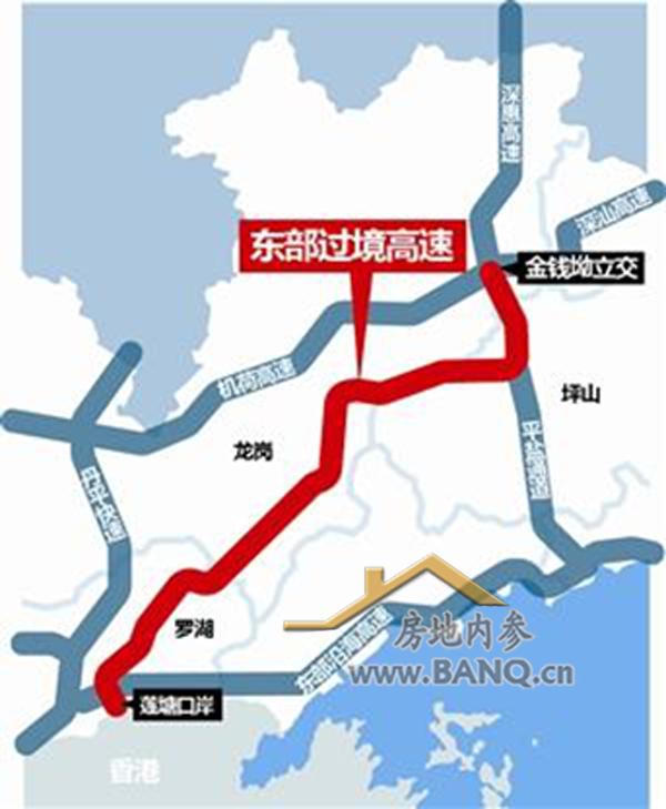 西南面通过口岸连接线与莲塘口岸连接,中间段与深汕,深惠高速公路连接